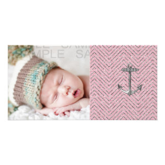 Girly Pink Silver Glitter Chevron Pattern Anchor Photo Cards