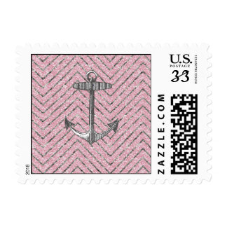 Girly Pink Silver Glitter Chevron Pattern Anchor Postage Stamps