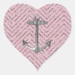 Girly Pink Silver Glitter Chevron Pattern Anchor Sticker