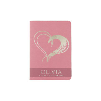 GIRLY PINK SILVER RED LOVE HEART LEATHER MONOGRAM PASSPORT HOLDER