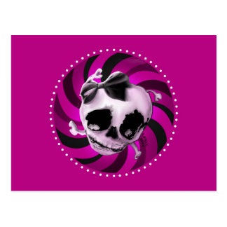 Girly Pink Skull with Black Bow Postcard
