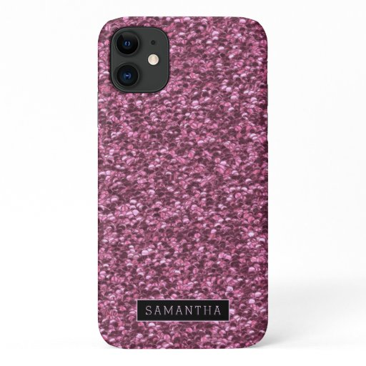 Girly Pink Sparkle Sequins Monogram iPhone 11 Case