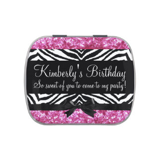 Girly Pink Sparkle Zebra Girl Birthday Party Favor Candy Tins