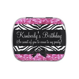 Girly Pink Sparkle Zebra Girl Birthday Party Favor Jelly Belly Candy Tin