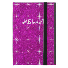 Girly pink sparkly glitter custom Ipad mini case at Zazzle