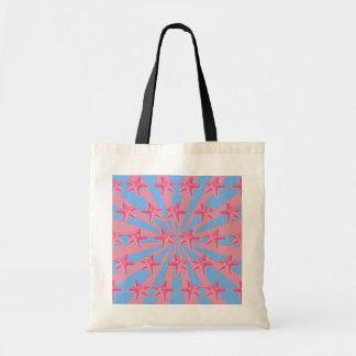 Girly pink starfish tote bags