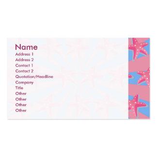 Girly pink starfish business card