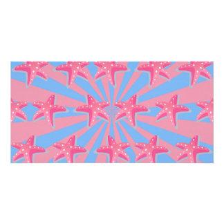 Girly pink starfish card