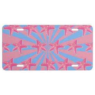 Girly pink starfish license plate