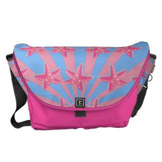 Girly pink starfish messenger bags