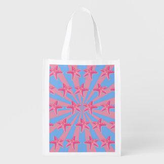 Girly pink starfish market totes