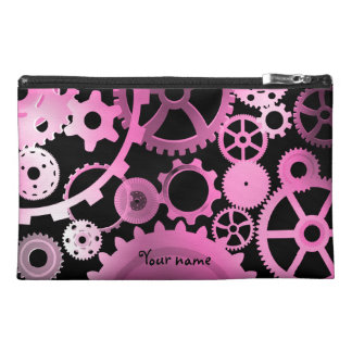 Girly pink steampunk gears travel accessory bag