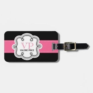 Girly Pink Stitched Ribbon Personalized Bag Bag Tag