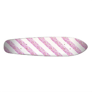 Girly Pink Striped Skateboard Deck