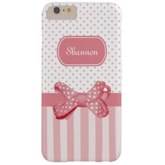 Girly Pink Stripes Cute Polka Dot Bow With Name Barely There iPhone 6 Plus Case