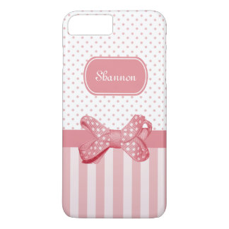 Girly Pink Stripes Cute Polka Dot Bow With Name iPhone 7 Plus Case