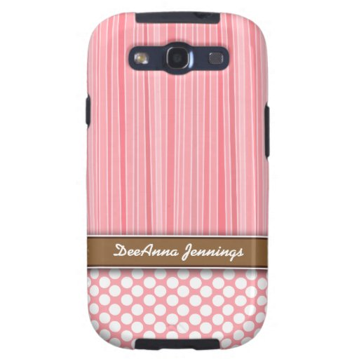 Girly Pink Stripes & Dots Samsung Galaxy S3 Case