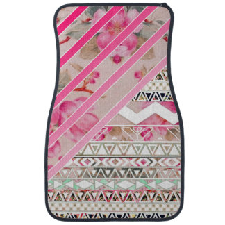 Girly Pink Stripes Floral Abstract Aztec Pattern Floor Mat