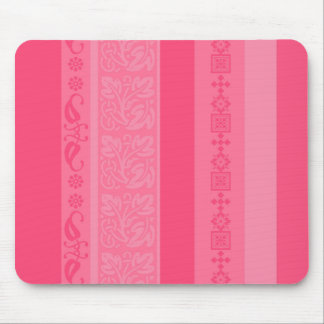 Girly Pink Stripes Floral Pattern Mouse Pad