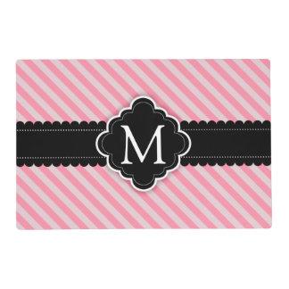 Girly Pink Stripes Pattern Black Custom Monogram Placemat
