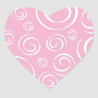 Girly Pink Swirl Pattern PT81 Heart Sticker
