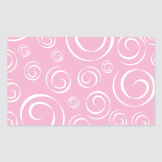 Girly Pink Swirl Pattern PT81 Rectangular Sticker