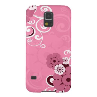 Girly Pink Swirls And Floral Pattern Galaxy S5 Cases