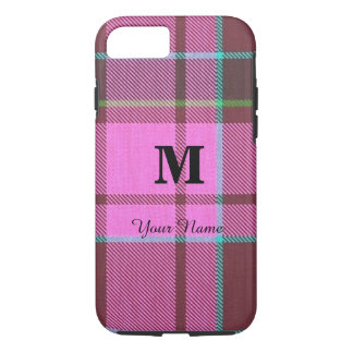 Girly pink tartan plaid personalized iPhone 8/7 case