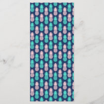 Girly Pink Teal Blue Tropical Pineapple Pattern