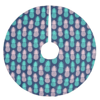 Girly Pink Teal Blue Tropical Pineapple Pattern Brushed Polyester Tree Skirt