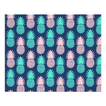 Girly Pink Teal Blue Tropical Pineapple Pattern Flyer