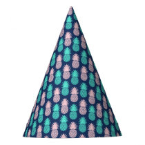Girly Pink Teal Blue Tropical Pineapple Pattern Party Hat