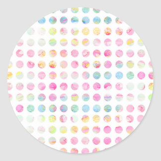 Girly pink teal blue watercolor polka dots pattern classic round sticker