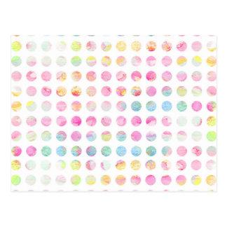 Girly pink teal blue watercolor polka dots pattern postcard