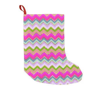 Girly Pink Teal Chevron Gold Glitter Photo Print Small Christmas Stocking