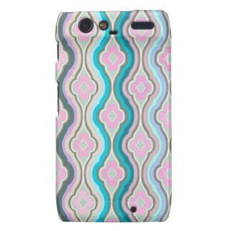 Girly Pink Teal Trendy Quatrefoil Pattern Droid RAZR Cover
