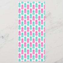 Girly Pink Teal Tropical Pineapple Pattern
