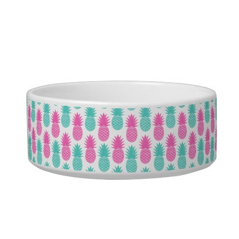 Girly Pink Teal Tropical Pineapple Pattern Bowl