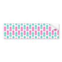 Girly Pink Teal Tropical Pineapple Pattern Bumper Sticker