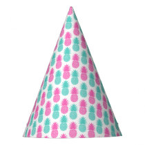 Girly Pink Teal Tropical Pineapple Pattern Party Hat