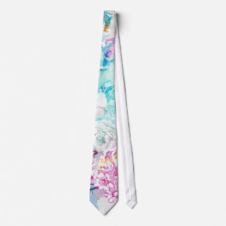 Girly pink teal watercolor vintage floral pattern neck tie