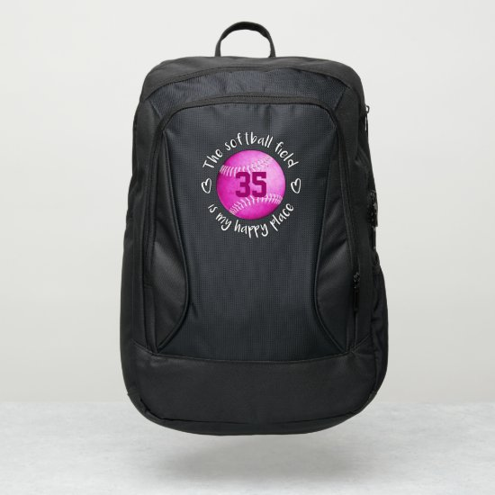 girly pink The softball field is my happy place Port Authority® Backpack