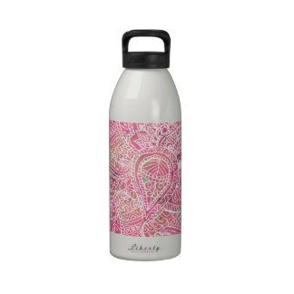 Girly Pink Tribal Abstract Floral Paisley Sketch Reusable Water Bottles