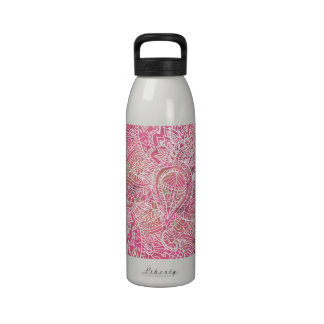 Girly Pink Tribal Abstract Floral Paisley Sketch Water Bottle