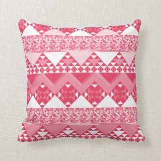 Girly Pink Tribal Aztec Pattern Throw Pillow