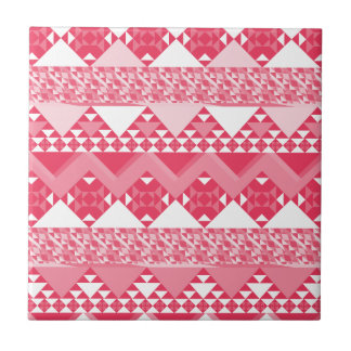 Girly Pink Tribal Aztec Pattern Tile