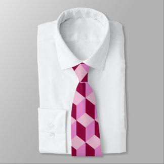 Girly Pink Tumbling Blocks Seamless Pattern Neck Tie