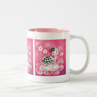 Girly Pink Turtle With Flowers Two-Tone Coffee Mug