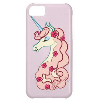 Girly Pink Unicorn With Flowers Cover For iPhone 5C
