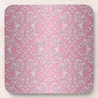 Girly Pink Victorian Damask Pattern Coaster